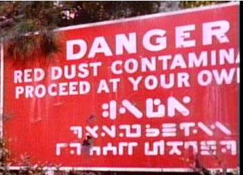 Red dust contaminated area